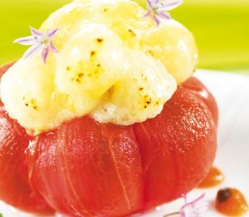Queijo_fumado_gratinado_papaya_tomate_confitados